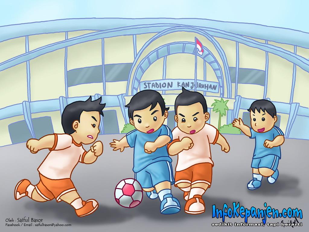 Kartun Semangat Arek Panjen Main Bola Di Stadion Kanjuruhan Www